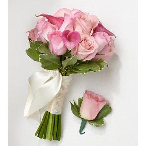 Pink bridesmaid bouquet groomsman boutonniere toronto bulk flowers pink bridesmaid bouquet mightylinksfo