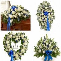 Funeral Flower Package Blue and White