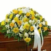 Sympathy Casket Flowers – Yellow