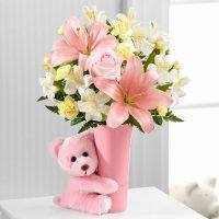 The Baby Girl Big Hug Bouquet - - Same Day Delivery in GTA- St. Michael's Hospital Toronto - flower delivery Ajax - florists Ajax- Toronto flower delivery- Florists near me.