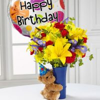 Happy birthday flowers and balloons will decorate your birthday party.