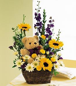 Flowers and Bear Arrangement bouquet - Buy today - Same Day Delivery in GTA & Humber River Hospital North York - Mississauga flower delivery –Florists near me – Florists Canada – Florists Toronto