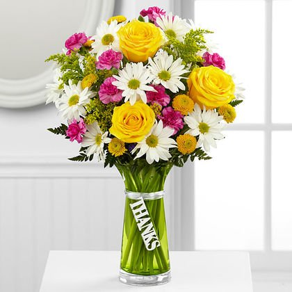 Thank you flowers vase