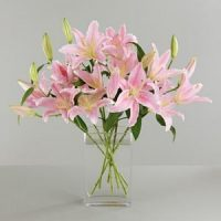 Pink Lily Flowers in Vase. Same Day Delivery in GTA & Scarborough General Hospital. Flower delivery Oshawa.