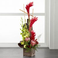 The tropical flowers arrangement is a lovely and romantic floral gift.