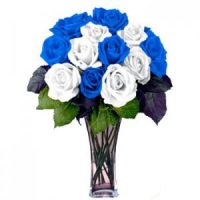 Blue and white roses bouquet. The most unique floral Valentine's Day gift.
