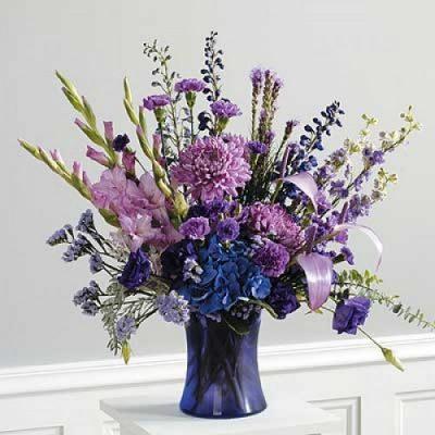 violet tones vase arrangement by local flower shop of Richmond Hill