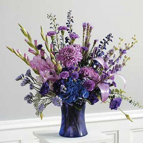 violet tones vase arrangement by local flower shop of Richmond Hill