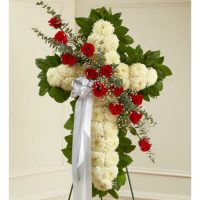 White and Pink Elegant Holy Cross Funeral Flowers